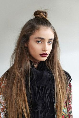 4-Le-Fashion-Blog-19-Ways-To-Wear-A-Half-Up-Top-Knot-Bun-Long-Hair-Burgundy-Lipstick-Via-LF-Stores